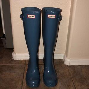 Hunter Original Tall Refined Gloss Wedge Boots
